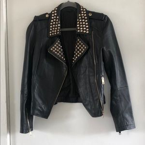 Jackets & Blazers - Studded biker leather jacket